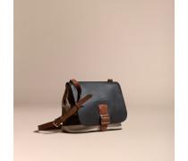 Crossbody-Tasche mit Canvas Check-Muster und Lederbesatz