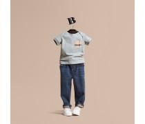 Jeans aus Stretchdenim mit Check-Detail