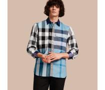 Hemd aus Baumwollpopelin mit Karomuster