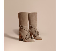 Stiefel aus Veloursleder ohne Verschluss und mit Troddeldetail