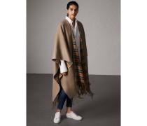 Wendbarer Poncho aus Kaschmir und Wolle mit Vintage Check-Muster