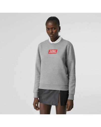 Baumwollsweatshirt mit Zitataufdruck