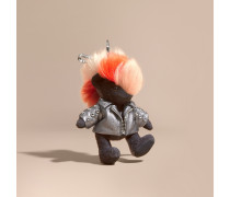 Teddybär-Anhänger The Punk aus Lammleder mit Ziernieten