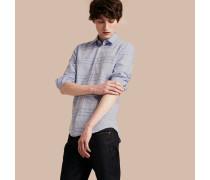 Jacquard-gewebtes Baumwollhemd in Check