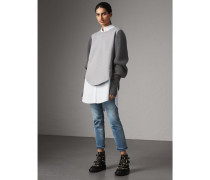 Sweatshirt aus einer Baumwollmischung mit Rippstrickärmeln