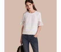 T-Shirt aus Baumwolle mit Spitzendetail
