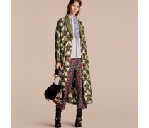 Mantel aus Seidentwill im Morgenrock-Design mit Burgmotiv