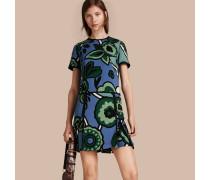 Kleid mit niedrig angesetzter Taille und grafischem Blumenmuster