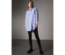 Oversize-Bluse aus Baumwolle mit Doppeltasche