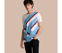 Baumwoll-T-Shirt mit einem abstrakten Karomuster