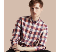 Baumwollhemd mit Vichy-Muster und Button-down-Kragen