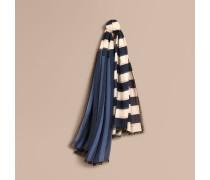 Schal aus Kaschmir und Seide mit kontrastierendem Streifenmuster
