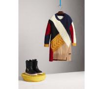 Kleid aus Wolle und Kaschmir im Colour-Blocking-Design
