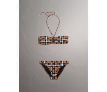 Bandeau-Bikini mit Punkt- und Karomuster