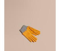 Velourslederhandschuhe mit Rippabschlüssen aus Wolle und Kaschmir