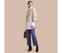 Baumwoll-Sweatshirt mit Panels und Puffärmeln