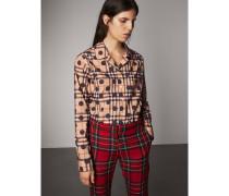 Bluse im Pyjamastil aus Baumwolle mit Karo- und Punktmuster