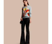 Pullover aus Merinowolle mit floralem Intarsienmotiv