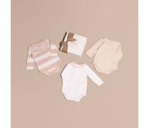 Dreiteiliges Baby-Geschenkset aus einer gemusterten Baumwollmischung
