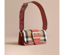 The Small Buckle Bag aus House Check-Gewebe und Leder