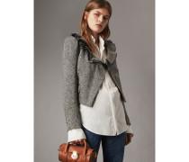 Jacke aus Donegal-Wolle mit Fischgrätmuster und gerüschtem Revers