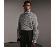 Pullover aus einer Baumwollmischung mit Zopf- und Rippstrickmuster