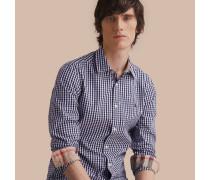 Hemd aus Baumwollpopelin mit Vichy-Muster und Karodetail