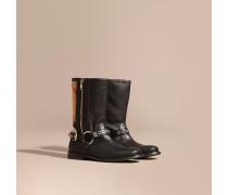 Stiefel Aus Leder Und Canvas Check-gewebe Mit Schnallendetail