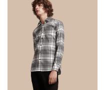 Leichtes Hemd aus Baumwollseide mit Check-Muster