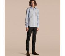 Hemd aus Baumwollpopelin mit Pyjamastreifenmuster an der Tasche