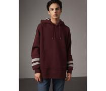 Oversize-Sweatshirt mit Kapuze und Streifendetail