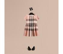 Baumwollkleid Mit Faltendetail Und Check-muster