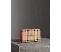 Brieftasche in Haymarket Check und Leder mit umlaufendem Reißverschluss