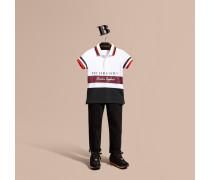 Poloshirt aus Baumwolle mit Streifendetail