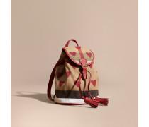 Kleiner Rucksack Aus Canvas Check-gewebe Mit Herzmuster