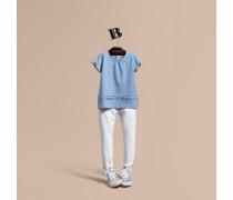 T-Shirt aus Baumwolle mit Karodetail und Falten