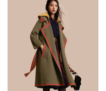 Cardigan-Mantel aus Stretchwolle und Kaschmir mit Lammfellkragen