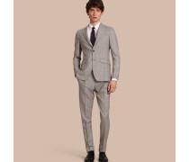 Körperbetonter Half-Canvas-Anzug aus Wolle in Prince of Wales Check