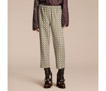 Hose aus Baumwollseide im Pyjamastil mit kürzerer Beinlänge und Pyjamadruck