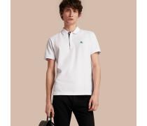 Poloshirt aus Baumwollpiqué mit bedruckter Knopfleiste im Karodesign