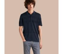 Poloshirt aus Baumwolle und Seide mit Jacquard-gewebtem Karomuster