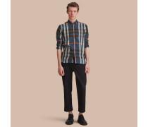 Hemd aus Baumwollpopelin mit Karomuster und Button-down-Kragen