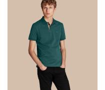Poloshirt aus Baumwollpiqué mit Knopfleiste im Karodesign