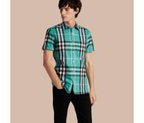 Kurzärmeliges Hemd aus Stretchbaumwolle im Karodesign