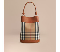 Die Tasche Burberry Bucket In House Check Mit Lederbesatz