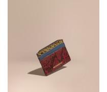 Kartenetui aus Leder und Natternleder mit Colour-Blocking
