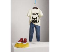 """Baumwoll-T-Shirt mit """"Meow""""-Aufdruck"""