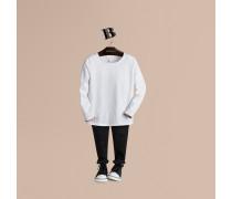Baumwoll-t-shirt Mit Check-Ärmelabschlüssen