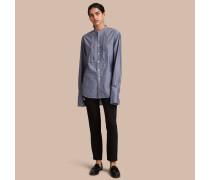 Unisex-Baumwollhemd mit Stehkragen und Faltendetail