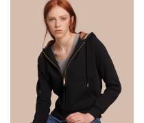 Sweatshirt aus einer Baumwollmischung mit Frontreißverschluss und Kapuze